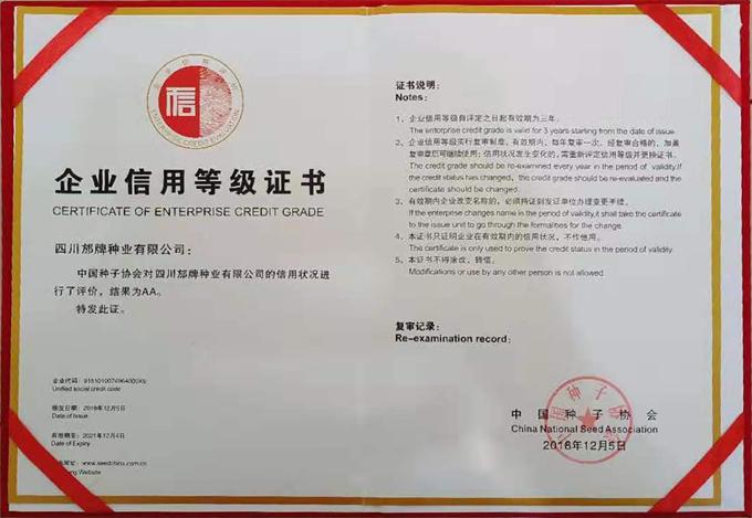 AA级信用企业证书
